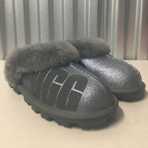 UGG Sparkle Coquette Gray Sheepskin Slippers